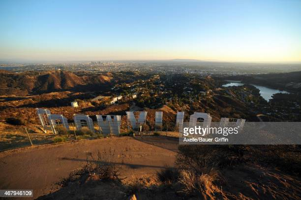 A view of the Hollywood Sign on Mount Lee on October 16 2013 in Los Angeles California