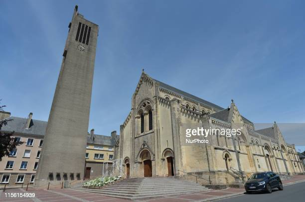 View of the Holy Cross Church in Saint-Lo . Saint-Lo was destoyed during the Second World War, after American bombardments caused heavy damage in...