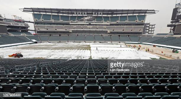 A view of the home of the Philadelphia Eagles as builders start the process in covering the field with decking in preparation for the 2019 Coors...