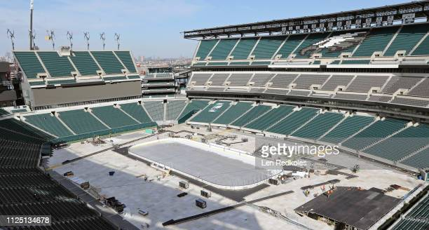 A view of the home of the Philadelphia Eagles being converted into a outdoor hockey rink in preparation for the 2019 Coors Light NHL Stadium Series...