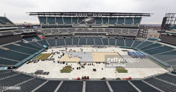 A view of the home of the Philadelphia Eagles being converted to an outdoor hockey rink in preparation for the 2019 Coors Light NHL Stadium Series...