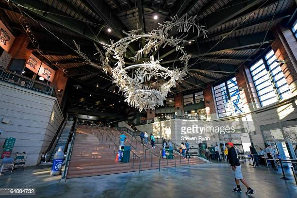 View of the home plate rotunda as fans enter the stadium during a game between the Seattle Mariners and the St. Louis Cardinals at T-Mobile Park on...