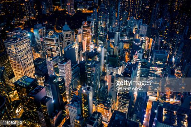 夜の香港の眺め - スマートシティ ストックフォトと画像
