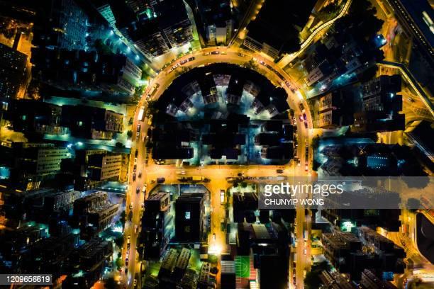 view of the hong kong at night - top foto e immagini stock