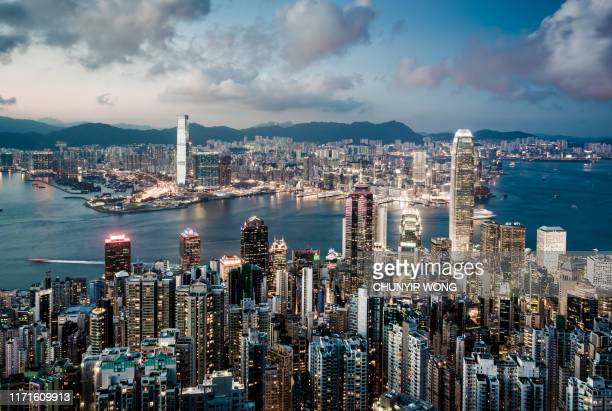 view of the hong kong skyline - hong kong stock pictures, royalty-free photos & images