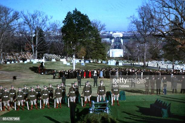 View of the honor guard at Arlington National Cemetery as they await the arrival of President John F Kennedy's funeral procession Arlington Virginia...