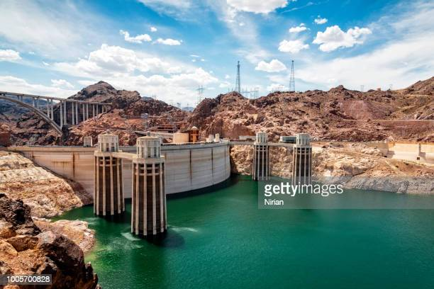 view of the hoover dam - hoover dam stock photos and pictures