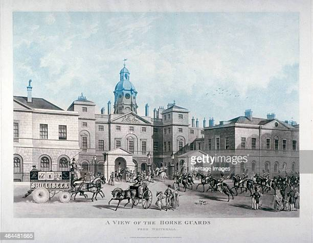 'A view of the Horse Guards from Whitehall' Westminster London 1836 The Palladian Horse Guards was built in the early 1750s by John Vardy to a design...