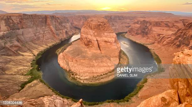 View of the Horseshoe Bend, a shaped incised meander of the Colorado River, located in the town of Page, Arizona, on August 24, 2020.