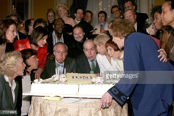 A view of the hosts and attendees blowing out the candles at The Tony Awards Honor Presenters And Nominees at the Waldorf Astoria on June 10 2006 in...