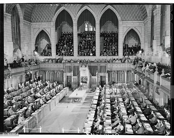 View of the House of Commons chamber in Ottawa as Prime Minister Louis St Laurent of Canada delivered the welcoming address to representatives of the...