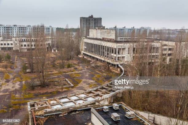 View of the House of Culture 'Energetic' and the central square of Pripyat