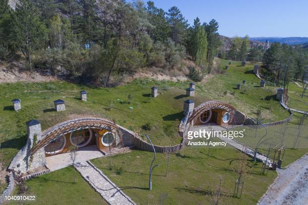 "View of the houses, built with the inspiration from Hobbit houses in the movie ""Lord Of The Rings"", at Pasabahce Mesire area in Sivas, Turkey on..."