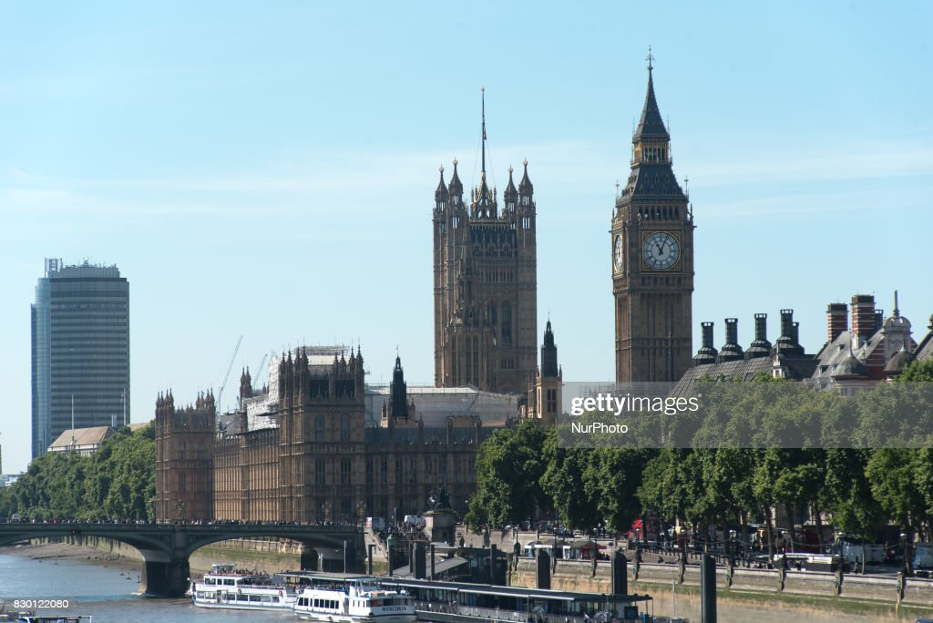View of the Houses Of Parliament and the Elizabeth Tower, known as Big Ben, London, on August 11, 2017.