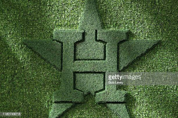 A view of the Houston Astros logo in centerfield during batting practice prior to Game One of the 2019 World Series between the Houston Astros and...