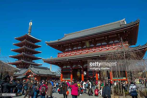 View of the Hozomon Gate and pagoda at the Sensoji temple in Asakusa Tokyo Japan