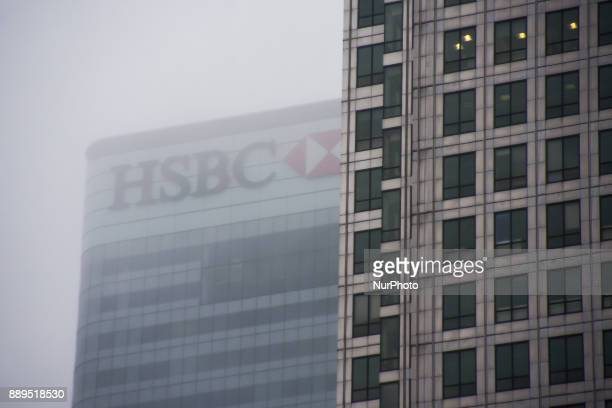 View of the HSBC building at Canary Wharf under a snow fall London on December 10 2017 According to the BBC the deepest snowfall in the UK has been...