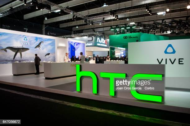 A view of the HTC company logo on their stand during the Mobile World Congress on March 1 2017 in Barcelona Spain