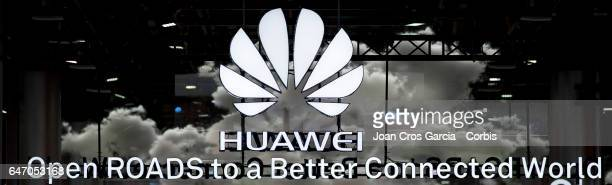 View of the Huawei company logo on their stand during the Mobile World Congress on March 1, 2017 in Barcelona, Spain.