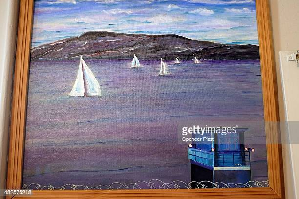 View of the Hudson River from Sing Sing correctional facility by artist Anthony Papa, a former prison inmate, is on display at a gallery show on...