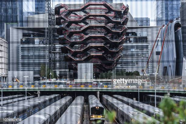 A view of the Hudson Yards development zone is seen from the High Line walk way on August 31 2018 in New York City Manhattan's Hudson Yards project...