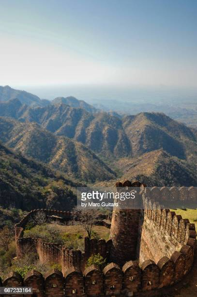 A view of the huge walls of Kumbhalgarh Fort with the hills near Udaipur in the background, Rajasthan, India