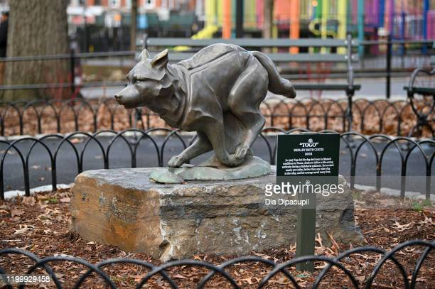 View of the husky named Togo statue is seen as Disney+ and NYC Department of Parks install plaque that honors bronze statue of the husky named Togo...