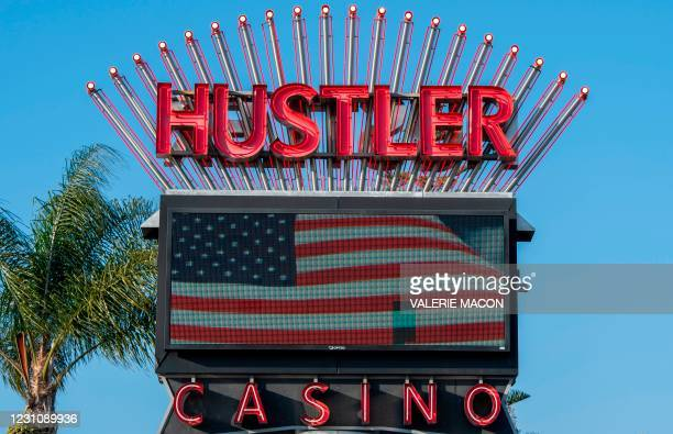 View of the Hustler Casino's sign on February 10, 2021 in Gardena, a city the South Bay region of Los Angeles County, California. - US porn mogul...