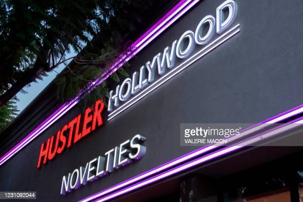 View of the Hustler Hollywood store on February 10, 2021 in Hollywood, California. - US porn mogul Larry Flynt, best known as the publisher of...