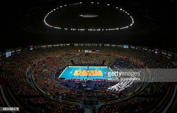 View of the Ibirapuera gym during the World Grand Prix 2015 volleyball match between Brazil and Germany in Sao Paulo Brazil on July 12 2015 AFP...