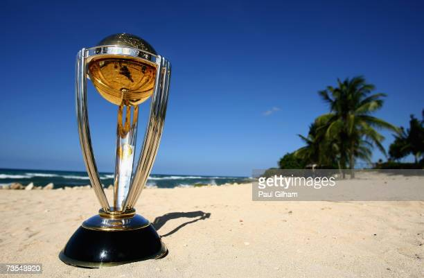 A view of the ICC Cricket World Cup Trophy on the beach at the Ritz Carlton Hotel on March 11 2007 in Montego Bay Jamaica