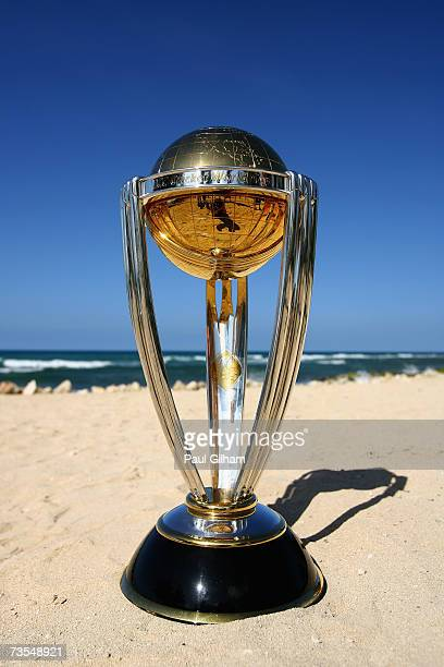 A View Of The ICC Cricket World Cup Trophy On Beach At Ritz Carlton