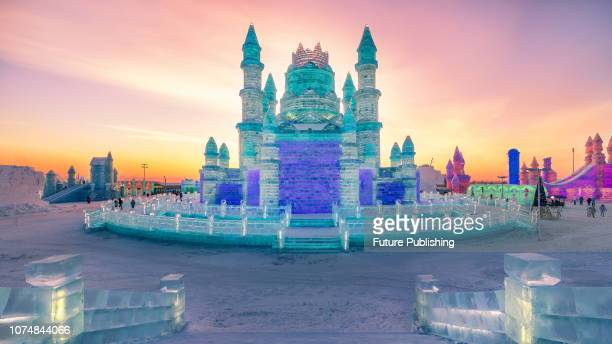A view of the ice buildings in the annual Harbin Ice and Snow World in Harbin in northeast China's Heilongjiang province Sunday Dec 23 2018 A total...