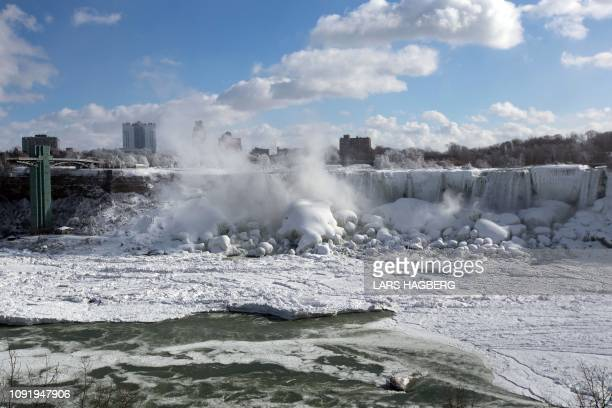 A view of the ice covered American falls seen from in Niagara Falls Ontario Canada on January 31 2019 A brutal cold wave moved eastward on January 31...