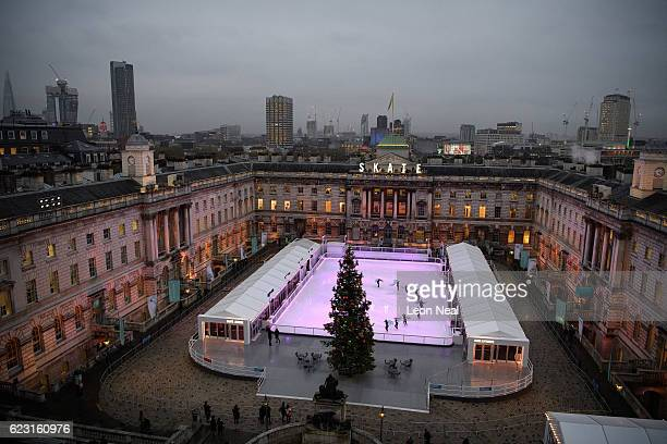 A view of the ice rink at Skate at Somerset House with Fortnum and Mason at Somerset House on November 14 2016 in London England Running from...