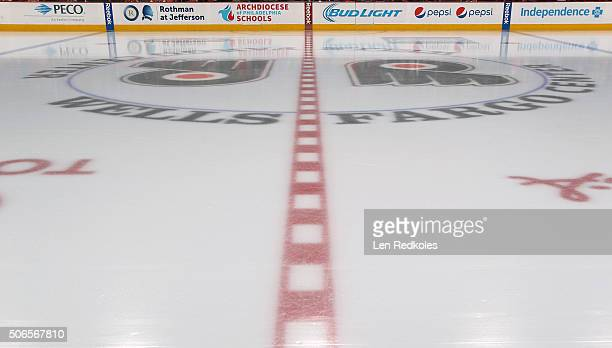 A view of the ice surface prior to a NHL game between the Philadelphia Flyers and the New York Rangers on January 16 2016 at the Wells Fargo Center...