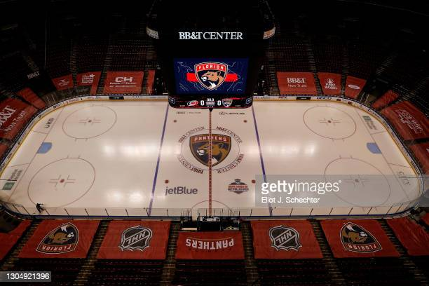 View of the ice surface prior to the Florida Panthers hosting the Carolina Hurricanes at the BB&T Center on March 1, 2021 in Sunrise, Florida.