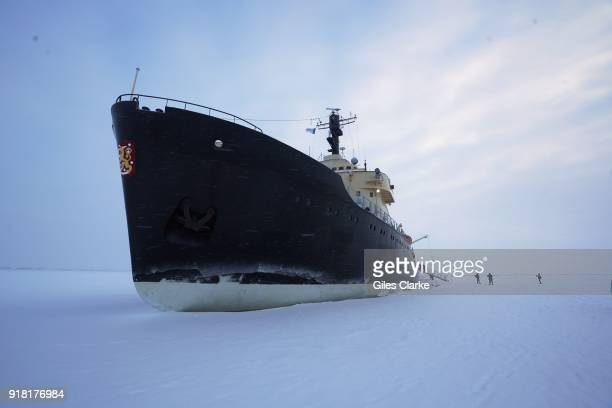 View of the Icebreaker 'Sampo' stopped in the the arctic ice. The 'Sampo' is an Ice-breaker that was built in 1961 by the Finnish Government and...
