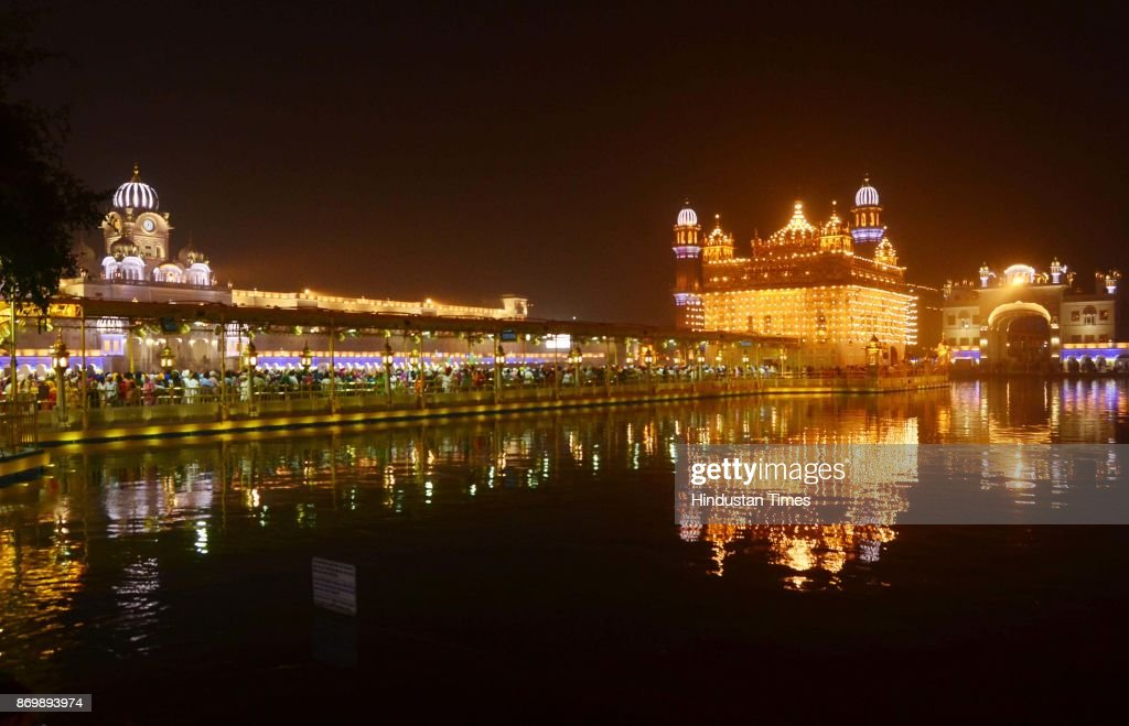 A view of the illuminated Golden Temple on the eve of birth anniversary of Sri Guru Nanak Dev on November 03 2017 in Amritsar India