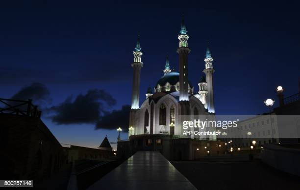 A view of the illuminated Qolsarif Mosque during the Russia 2017 Confederations Cup football tournament in Kazan on June 23 2017 / AFP PHOTO / YURI...