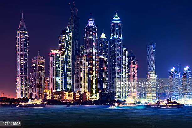 View of the illuminated skyline of Dubai Marina