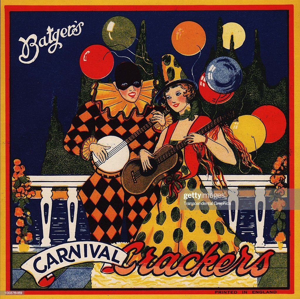 View of the illustrated label for Batgers Carnival Crackers features a duet between a banjo-playing harlequin and a female guitarist in polka dots, mid 1930s.