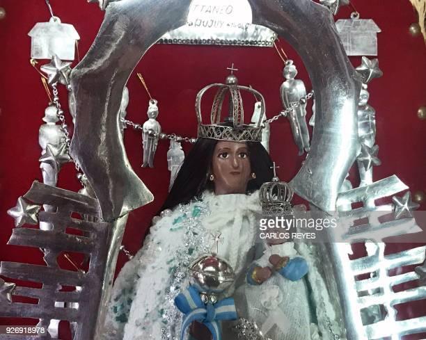 View of the image of the Virgin of Copacabana del Abra de Punta Corral at 'Nuesta Senora del Rosario' parish church in Tilcara Jujuy province...
