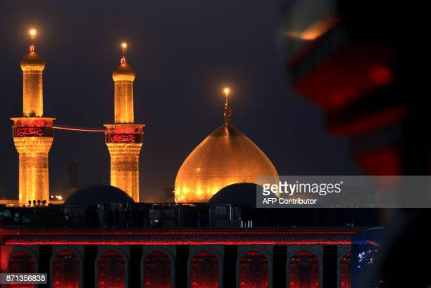 A view of the Imam Hussein shrine in the southern Iraqi city of Karbala on November 7 2017 ahead of the Arbaeen religious festival which marks the...