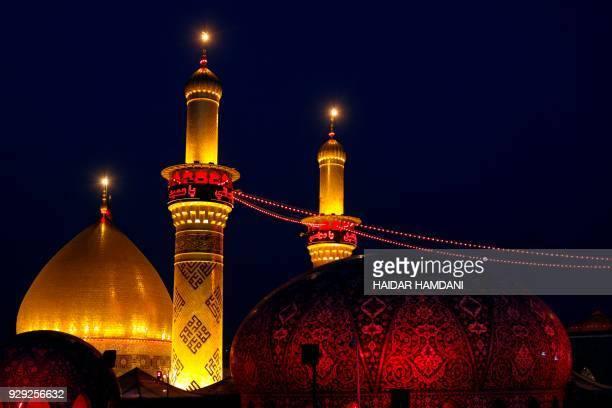 View of the Imam Hussein shrine in the southern Iraqi city of Karbala on November 8 2017 ahead of the Arbaeen religious festival which marks the 40th...