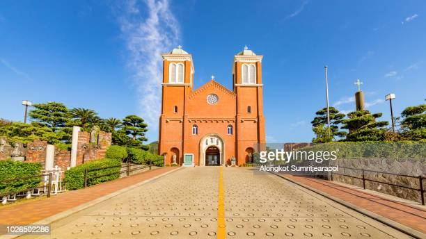 view of the immaculate conception cathedral, also known as st. mary's cathedral and urakami cathedral, located in nagasaki, japan. - nagasaki prefecture stock pictures, royalty-free photos & images