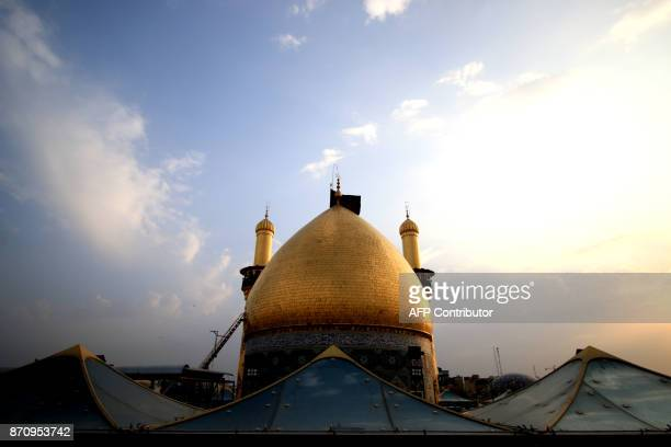 A view of the Immam Abbas ibn Ali shrine in the southern Iraqi city of Karbala on November 6 2017 ahead of the Arbaeen religious festival which marks...