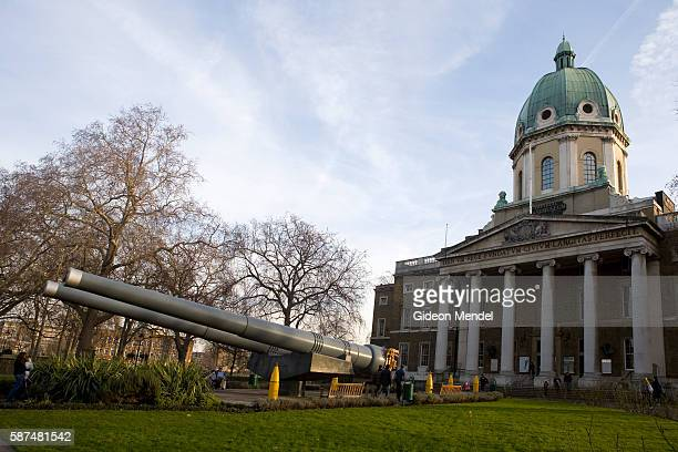A view of The Imperial War Museum a museum in London featuring military vehicles weapons war memorabilia a library a photographic archive and an art...