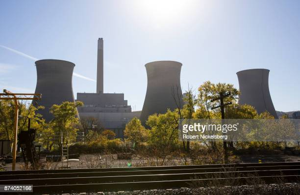 A view of the inactive cooling towers at FirstEnergy Corporation's Bruce Mansfield coalfired power plant October 27 2017 in Shippingport Pennsylvania...