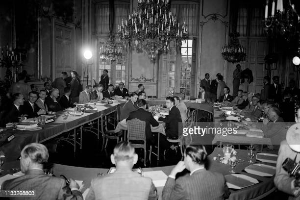 View of the inaugural meeting of the Committee of Ministers of the Council of Europe in August 1949 at Strasbourg City Hall.